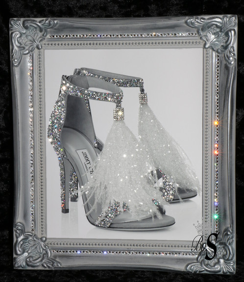 Silver Jimmy Choo Sparkle Glitter picture Shabby Chic Framed or ...