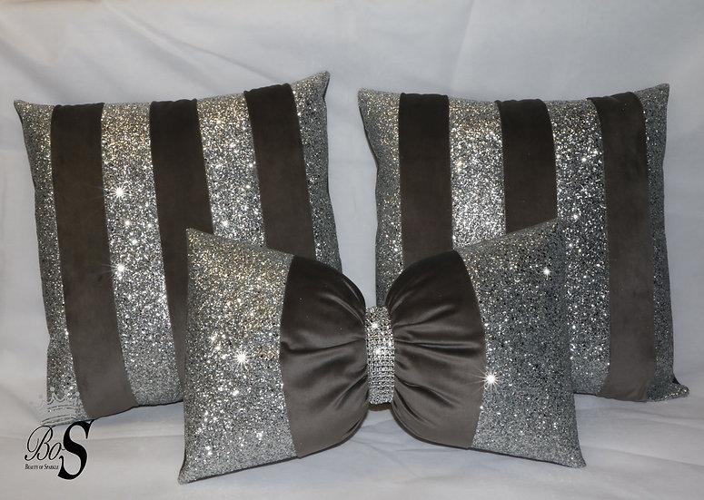 Pewter Soft Velvet, Silver Glitter Bow, Cushions.