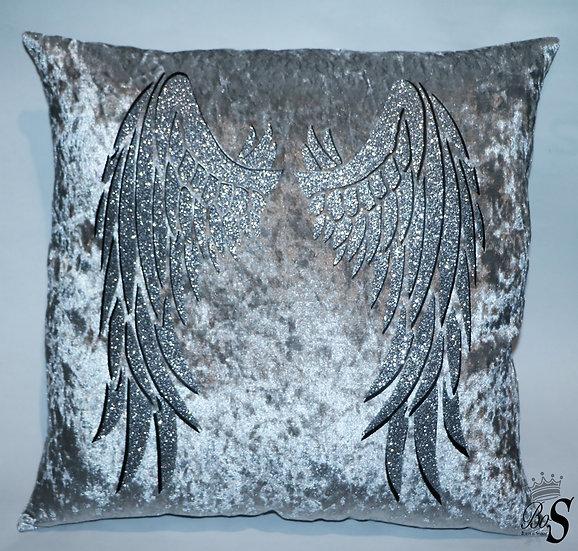 """Crushed Velvet, """"Angel Wings"""" Glitter Cushion."""