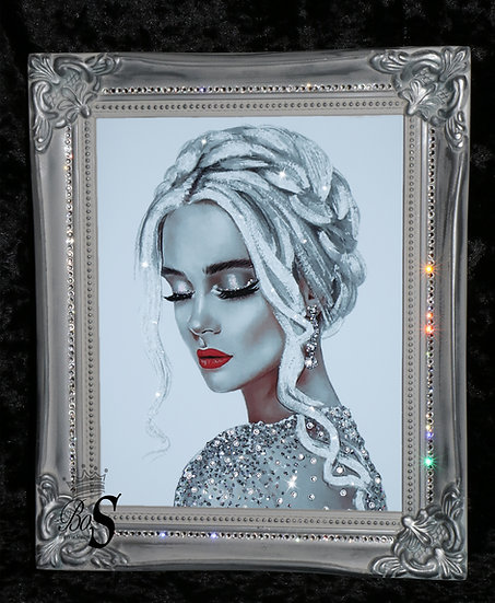 Crystal Lady picture, Silver Shabby chic Framed or Canvas! Any Size