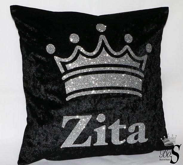 Crushed Velvet, Any colour Glitter Personalised Name Cushion