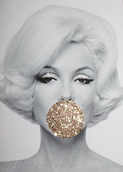 Marilyn Monroe Real Rose gold glitter picture. PRINT ONLY. No Frame..