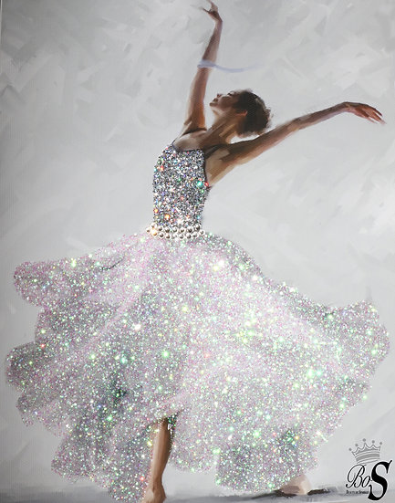 Ballerina Glitter Canvas Picture. Print ONLY , Canvas or with Frame.