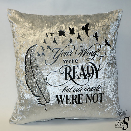 """Crushed Velvet, """"Your Wings were Ready"""" Glitter Cushion."""