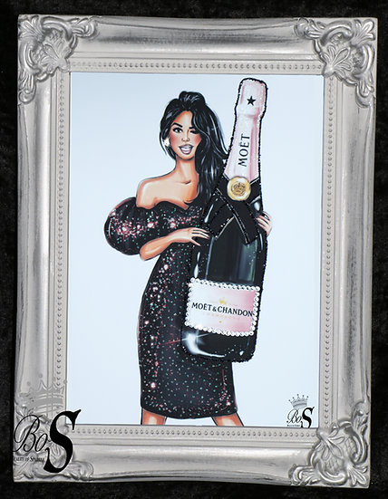 Moet picture, Silver Shabby chic Framed or Canvas! Any Size
