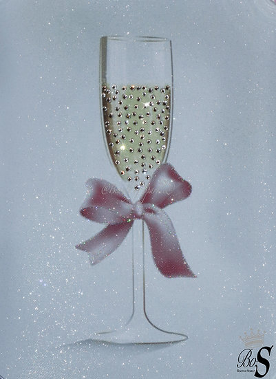 """Sparkle """"Time for Champagne"""" Glitter canvas, Any size."""