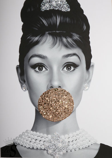 Audrey Hepburn Real Rose gold glitter picture. PRINT ONLY. No Frame..