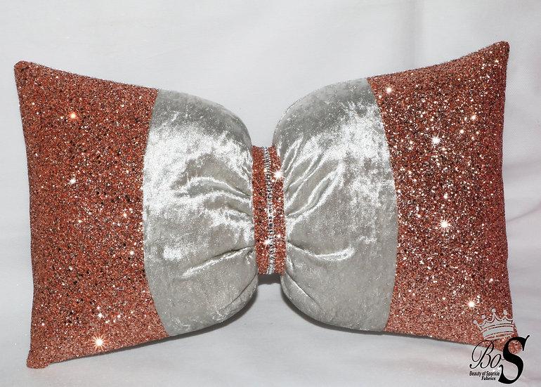 Premium Silver Velvet, Rose Gold Glitter Bow, Cushion.