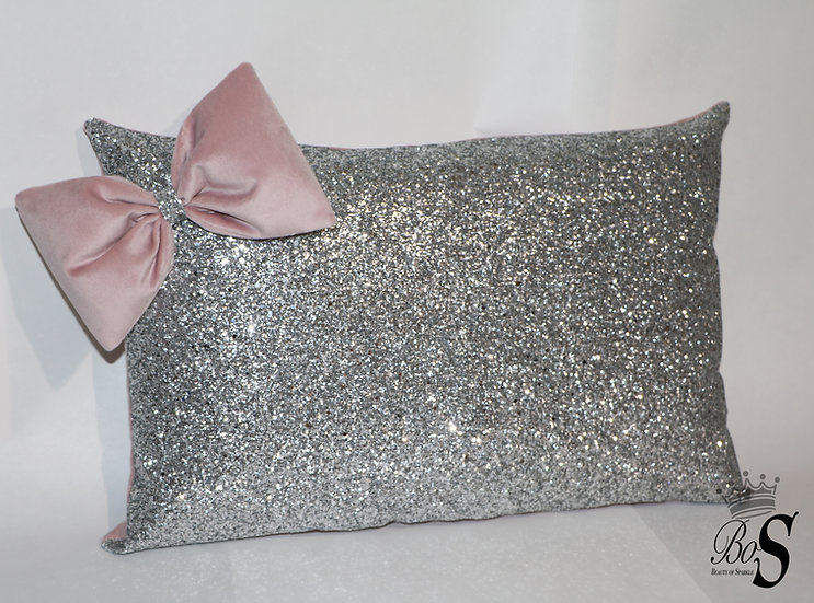 Dusty Pink Soft Velvet 3d bow, Glitter Cushion.
