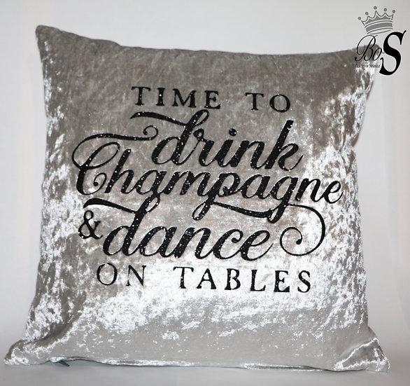 """Crushed Velvet, """"Drink Champagne"""" Glitter Cushion."""