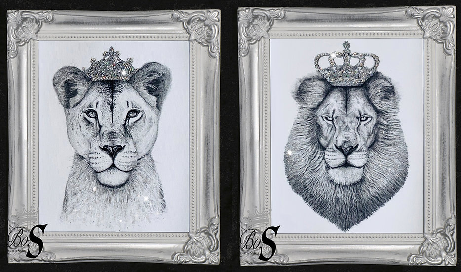 Lion & Lioness Glitter canvas, Any size.