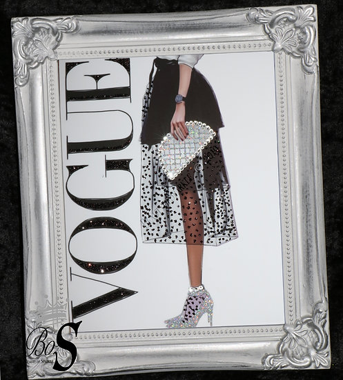 """Customised Sparkle Glitter canvas print """"Vogue"""", any size!"""