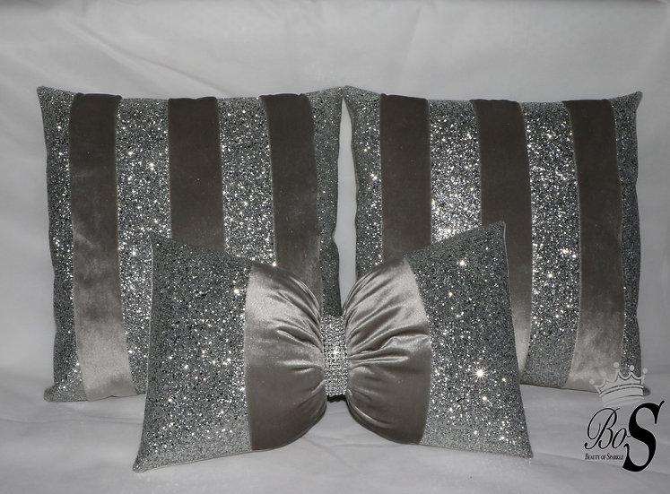 Silver Soft Velvet, Silver Glitter Bow, Cushions.