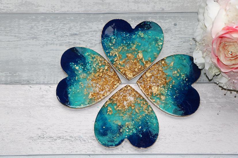 Unique Ocean style HEART Shape Epoxy Resin Coasters, set of 4