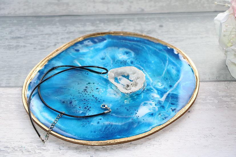 Gold metal trinket tray / dish with blue epoxy resin art finish..