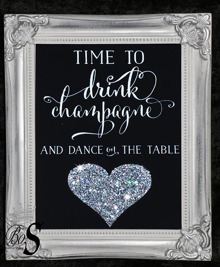 Sparkle Drink Champagne, Glitter canvas, Any size.