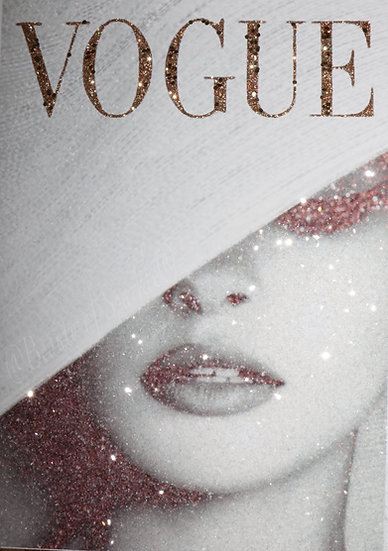 Real glitter VOGUE picture. PRINT ONLY. No Frame..