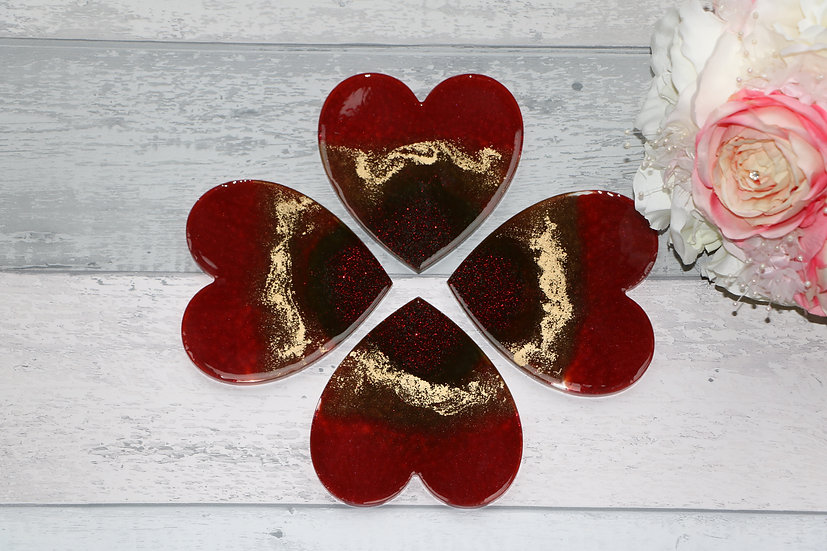 Unique Red HEART Shape Epoxy Resin Coasters, set of 4