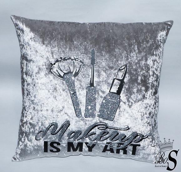 """Crushed Velvet, """"Makeup is My Art"""" Glitter Cushion."""