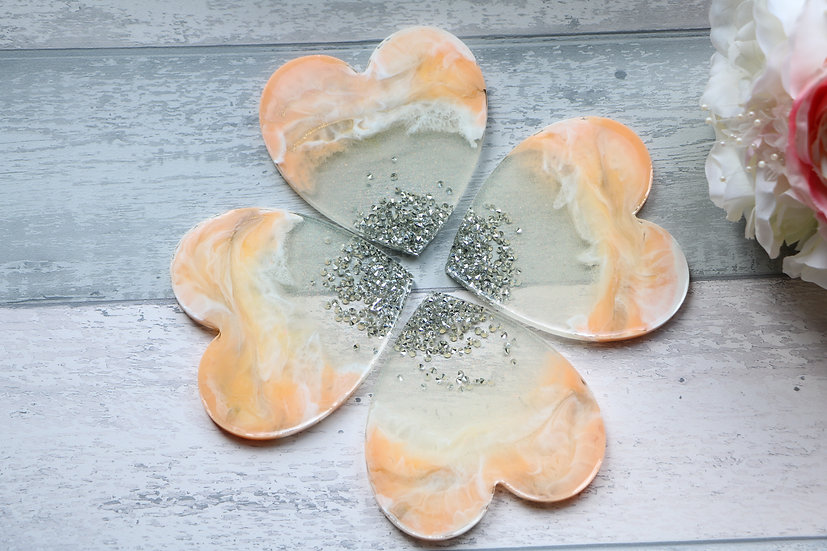Unique HEART Shape Epoxy Resin Coasters, set of 4
