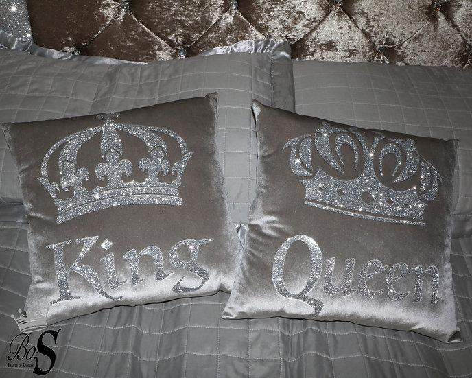 "Soft touch Silver Velvet, Glitter ""Queen"" ""King"" Cushions."