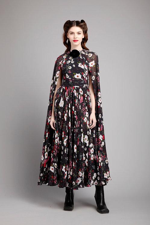 Cape sleeves tea length dress