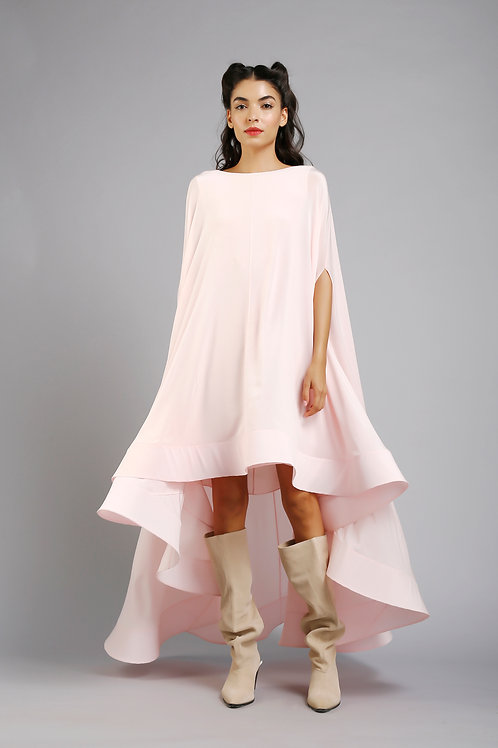 High low cape dress