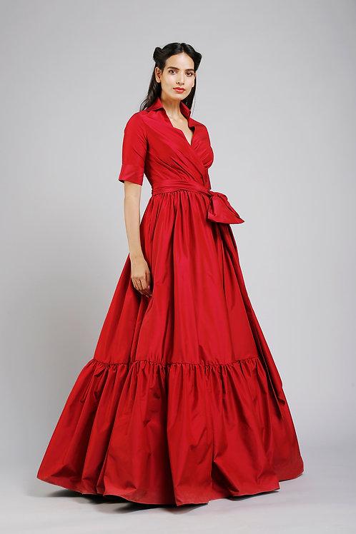 Collared full length wrap dress