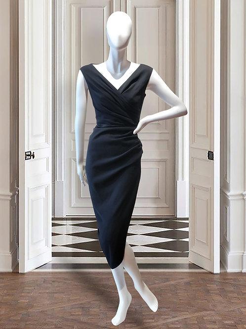 V-neck asymmetrical side slit dress
