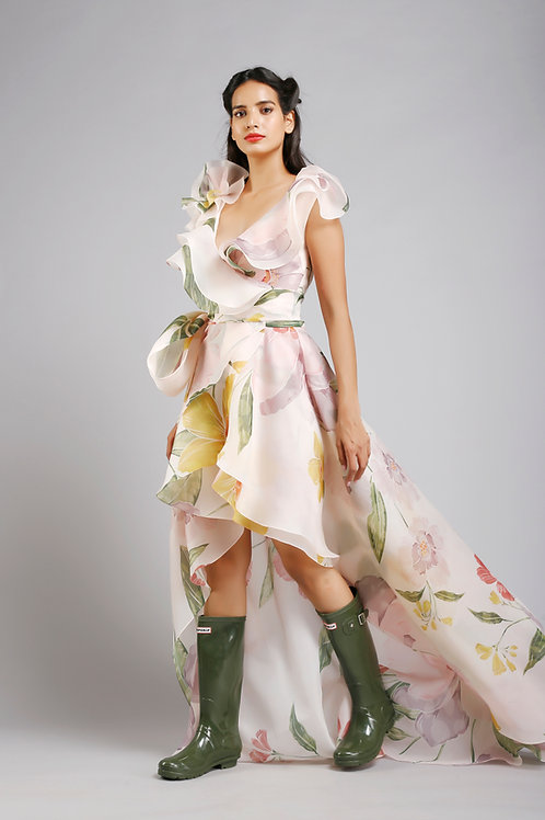 Frilled high low wrap dress