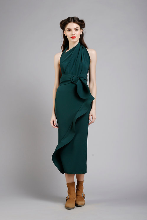 Draped pencil dress with sculpted frill detail