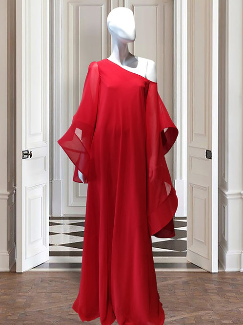 Drop shoulder asymetrical gown with cold shoulder