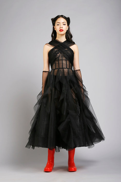 Wide x-strap corsetted frilled midi dress