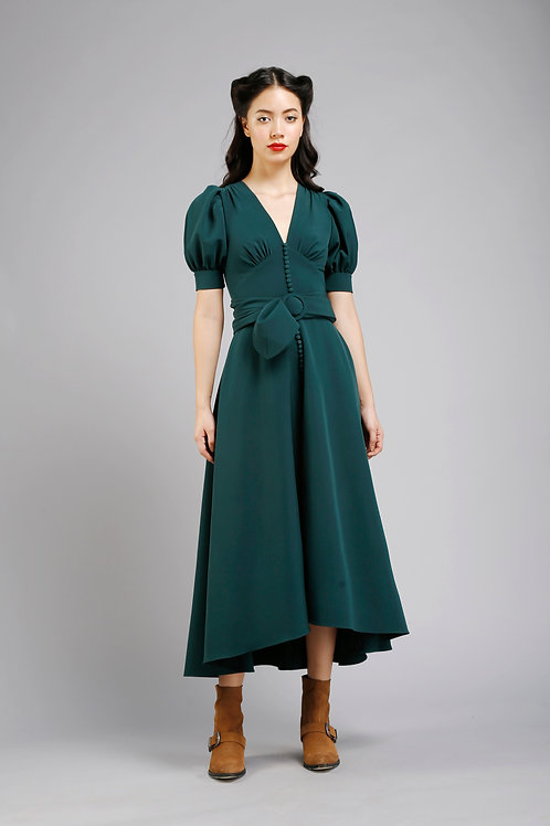 V-neck pouf sleeves front slit tea length dress