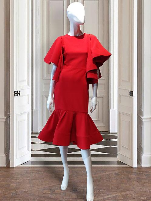 One shoulder frill pencil dress w/diagonal FRILL