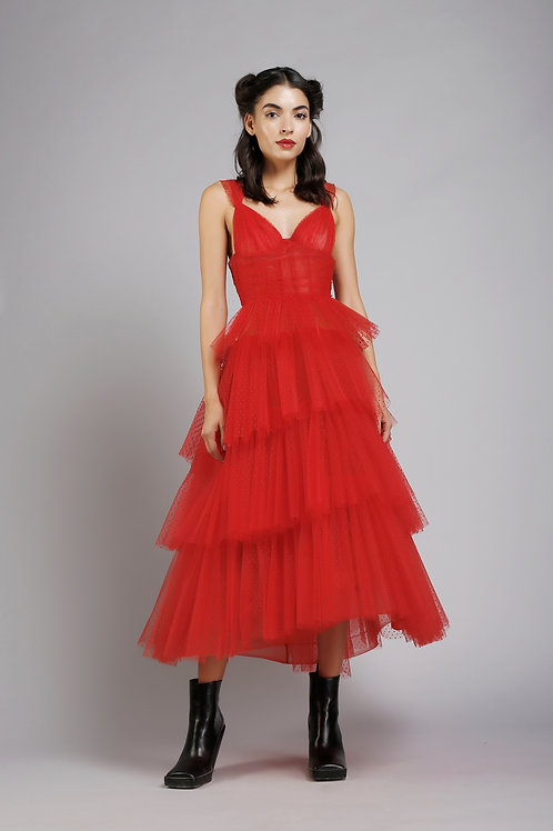 Corsetted high low tiered midi dress