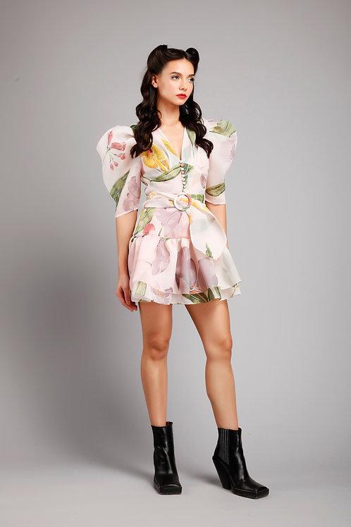 V-neck pouf sleeves frilled short dress