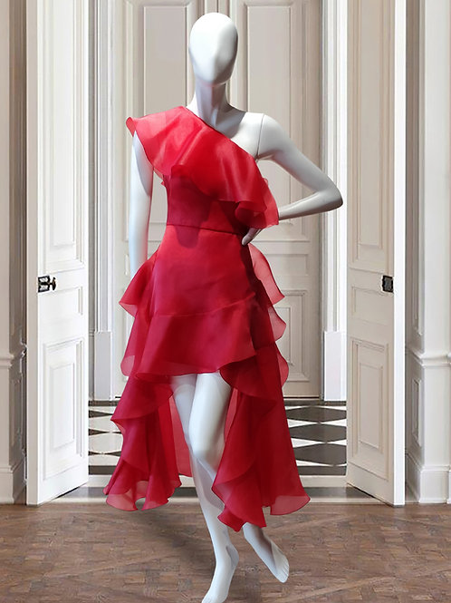 One shoulder ruffle dress with back as dress length