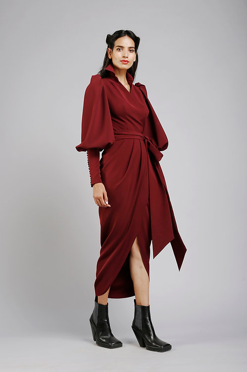 Collared pouf sleeves wrap dress
