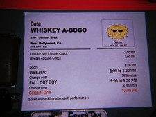 The Set List for the Super Seceret Show at The Whisky A Go Go