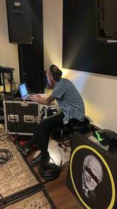 Austin making sure all the audio is sounding great for the live recording!