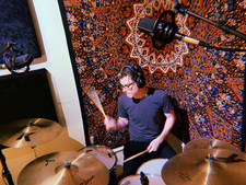 Taylor from Norphlet band Laying down some drum Tracks for thier album