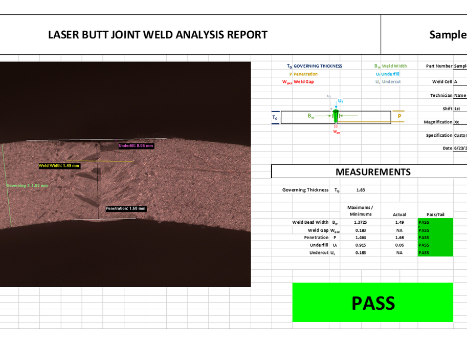 LASER BUTT JOINT WELD ANALYSIS REPORT
