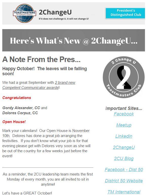October 2015 News Letter