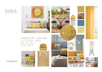 "Arredamento stile ""yellow and blue oil colors"""