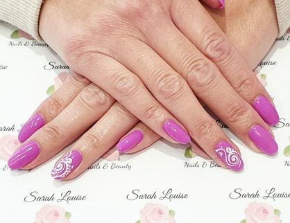 Gel Nails using Orchid & White detail