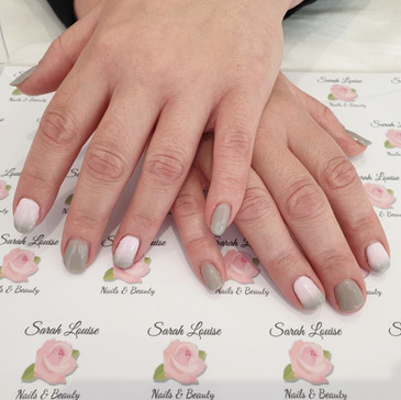 Beautiful Pink & Grey Ombre Gel Nails