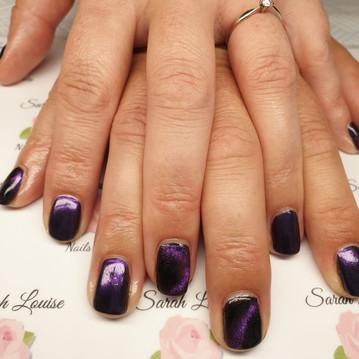 Gorgeous Gel Polish Nails using 5D Cats Eye Aura & Purple Pigment