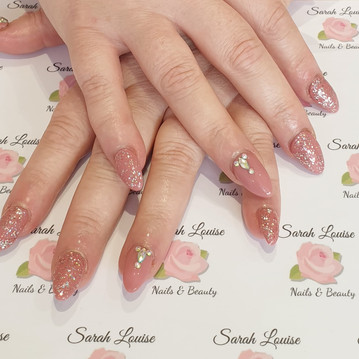 Acrylic Nails with Gel Polish Overlay & Sparkle