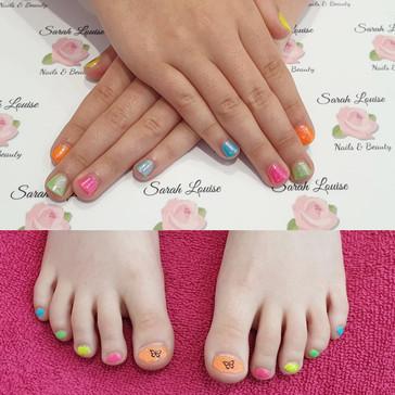Rainbow fingers with unicorn dust & Rainbow toes
